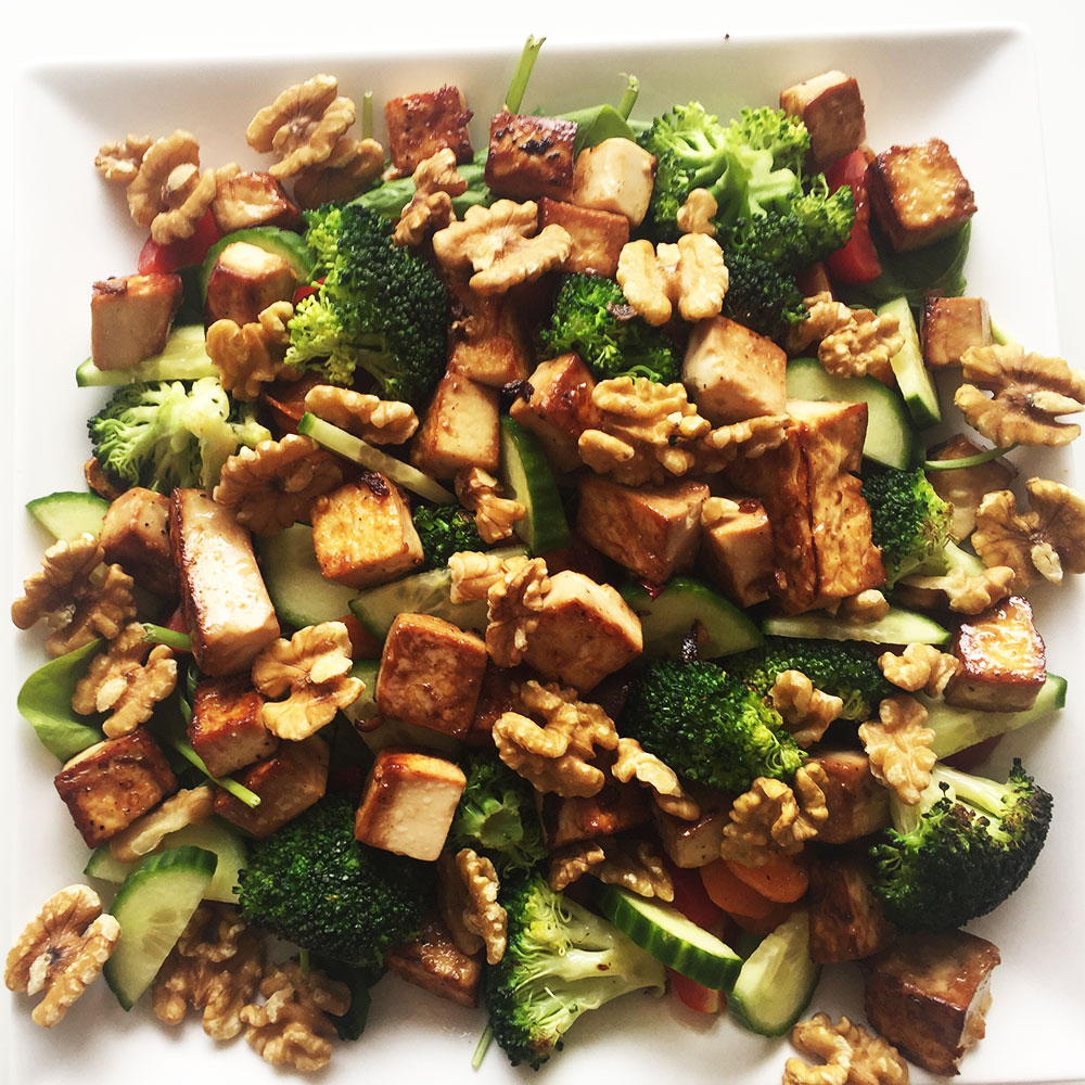 Tofu Walnut Broccoli Salad