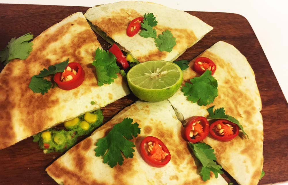 Avocado and corn quesadillas