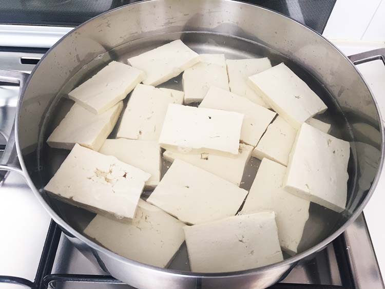 Vegan Fish and Chips - Boiling the tofu