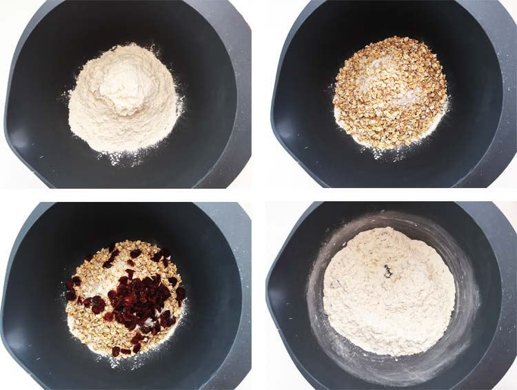 Dried fruit bread - mixing the dry ingredients