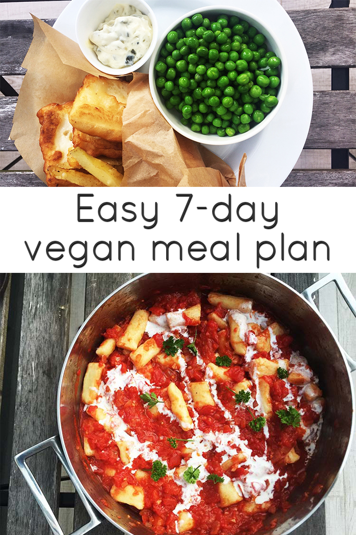 This easy 7-day vegan meal plan will help you plan and make delicious vegan breakfasts, lunches and dinners for a whole week. #vegan #recipes #mealplan
