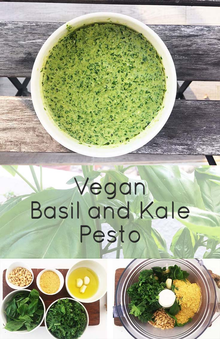 I think pesto goes well with almost anything. This vegan basil and kale pesto is an interesting, quick and easy way to make your own vegan pesto. #vegan #recipe #pesto